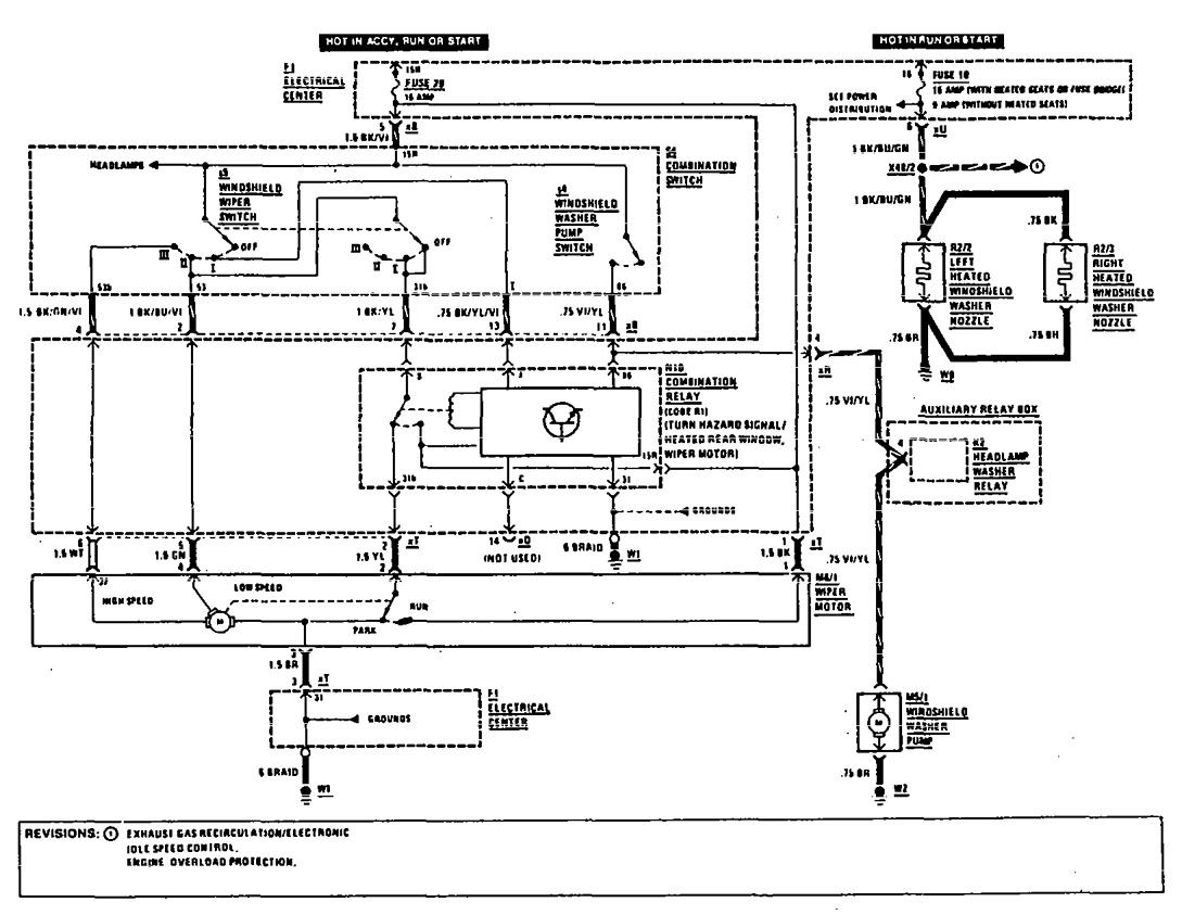 mercedes-benz 190e  1990  - wiring diagrams - wiper  washer