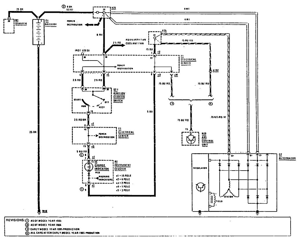 Mercedes Benz 190e 1990 1991 Wiring Diagrams Charging System Diagram