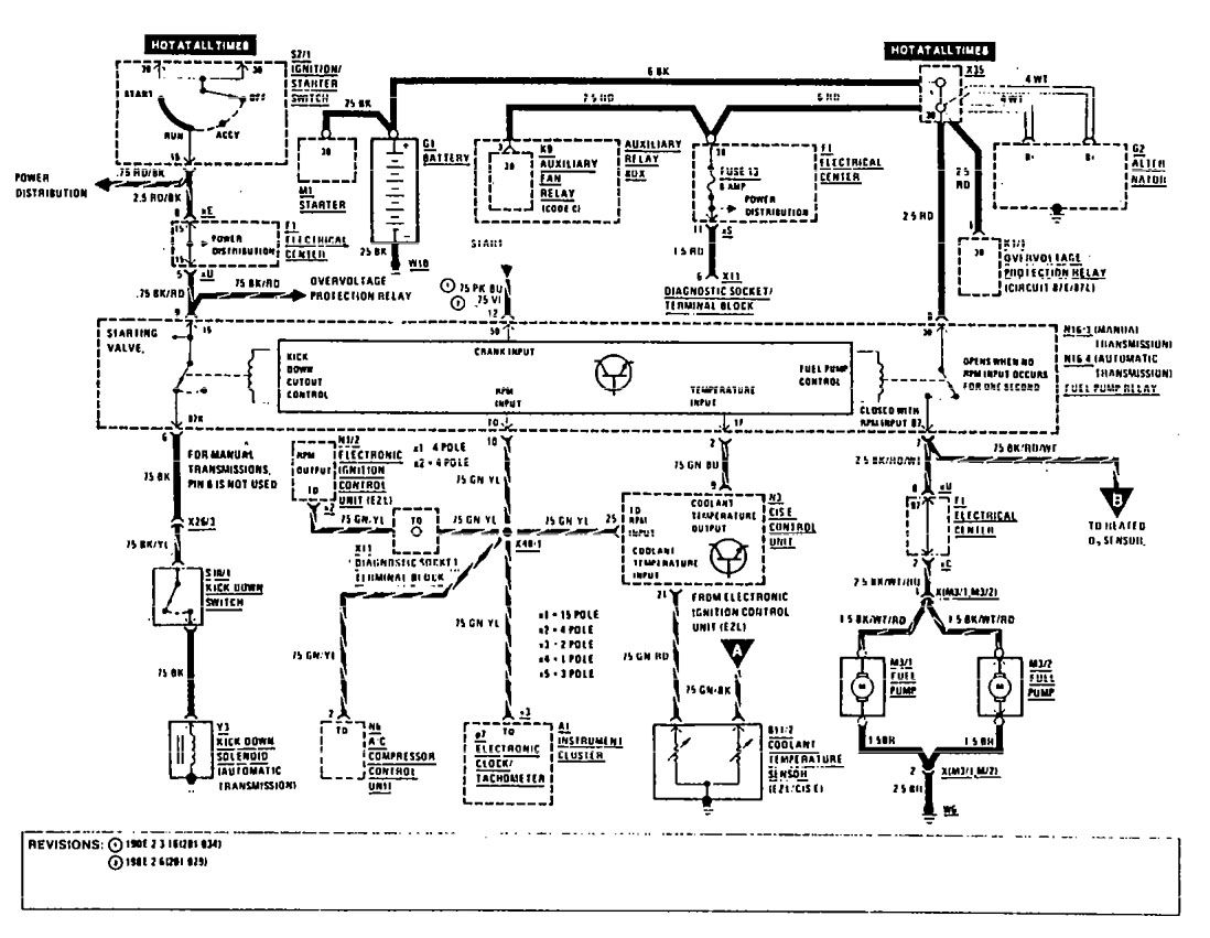Mercedes Benz 190E 1990 wiring diagrams fuel
