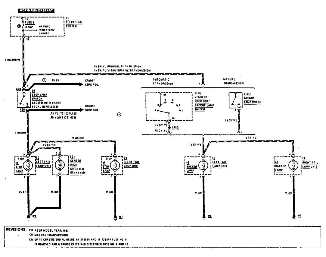 Mercedes-Benz 190E (1990 - 1991) - wiring diagrams - reverse lamp -  Carknowledge.infoCarknowledge.info