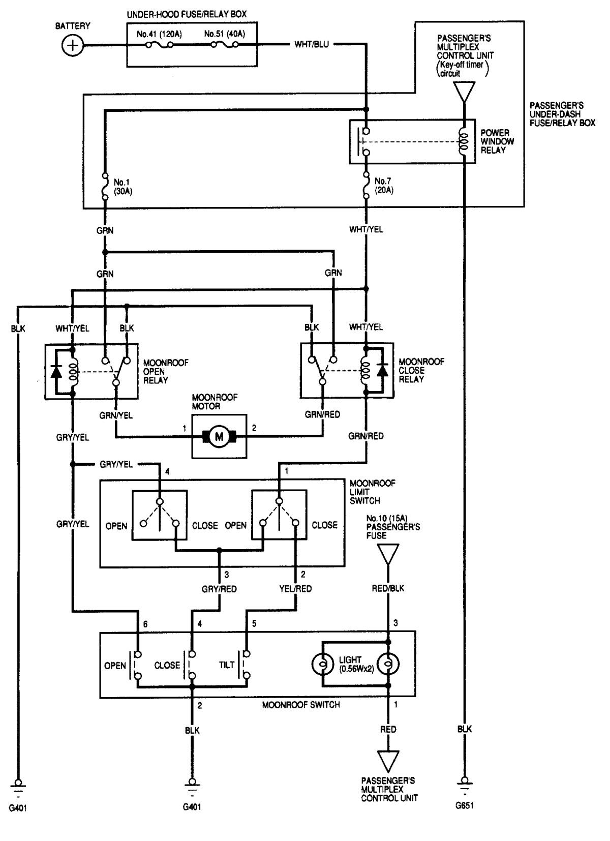 Acura MDX (2001) - wiring diagrams - sun roof - Carknowledge.infoCarknowledge.info