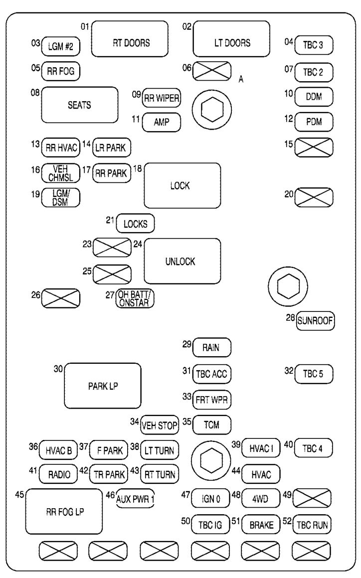buick rainer 2007 2008 fuse box diagram carknowledge. Black Bedroom Furniture Sets. Home Design Ideas