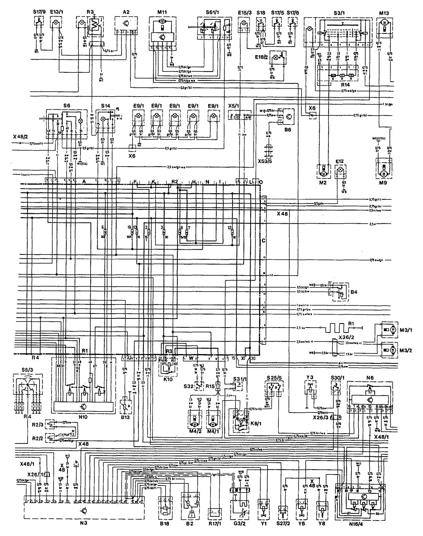 Mercedes 190E 1993 wiring diagrams cooling fans