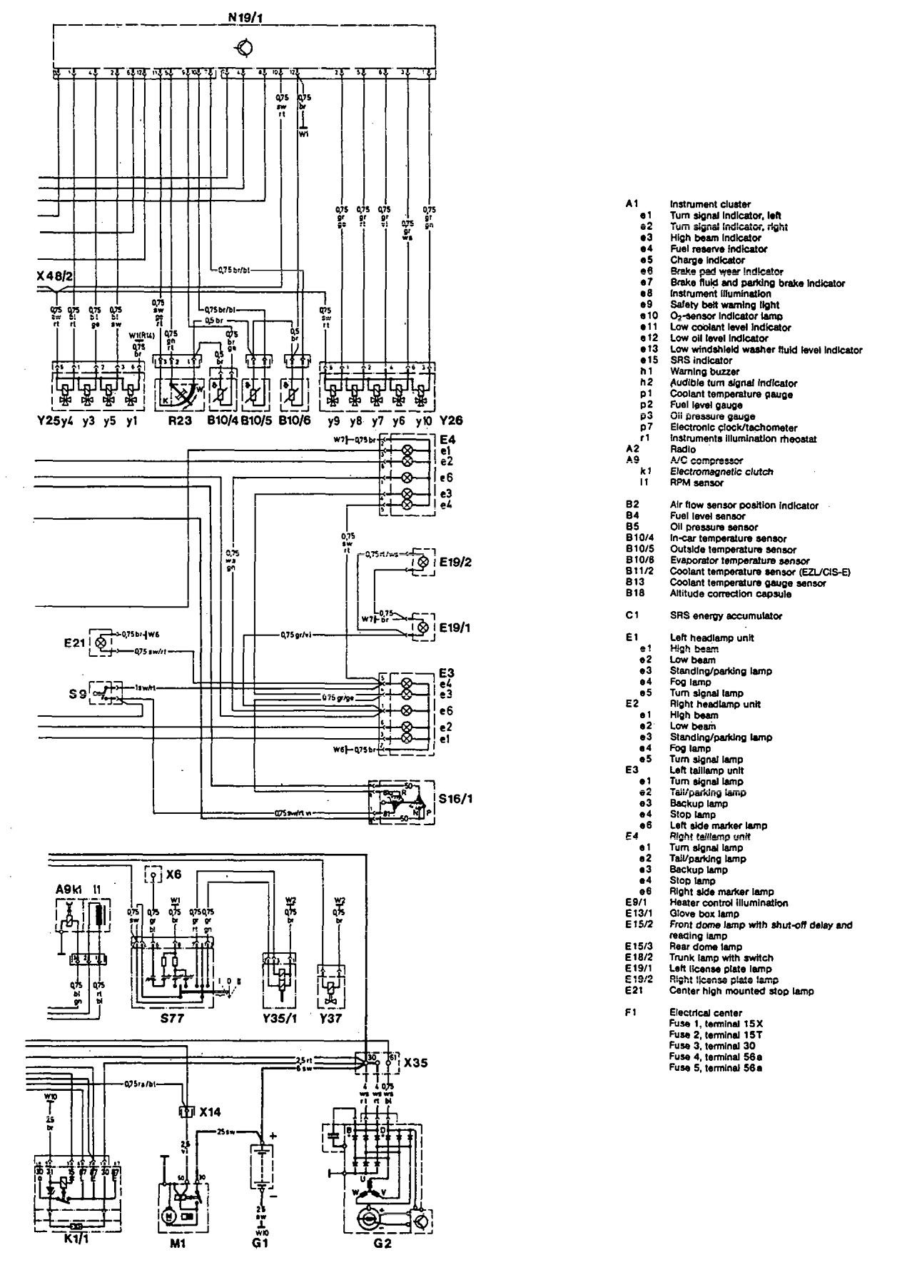 mercedes 190e  1993  - wiring diagrams