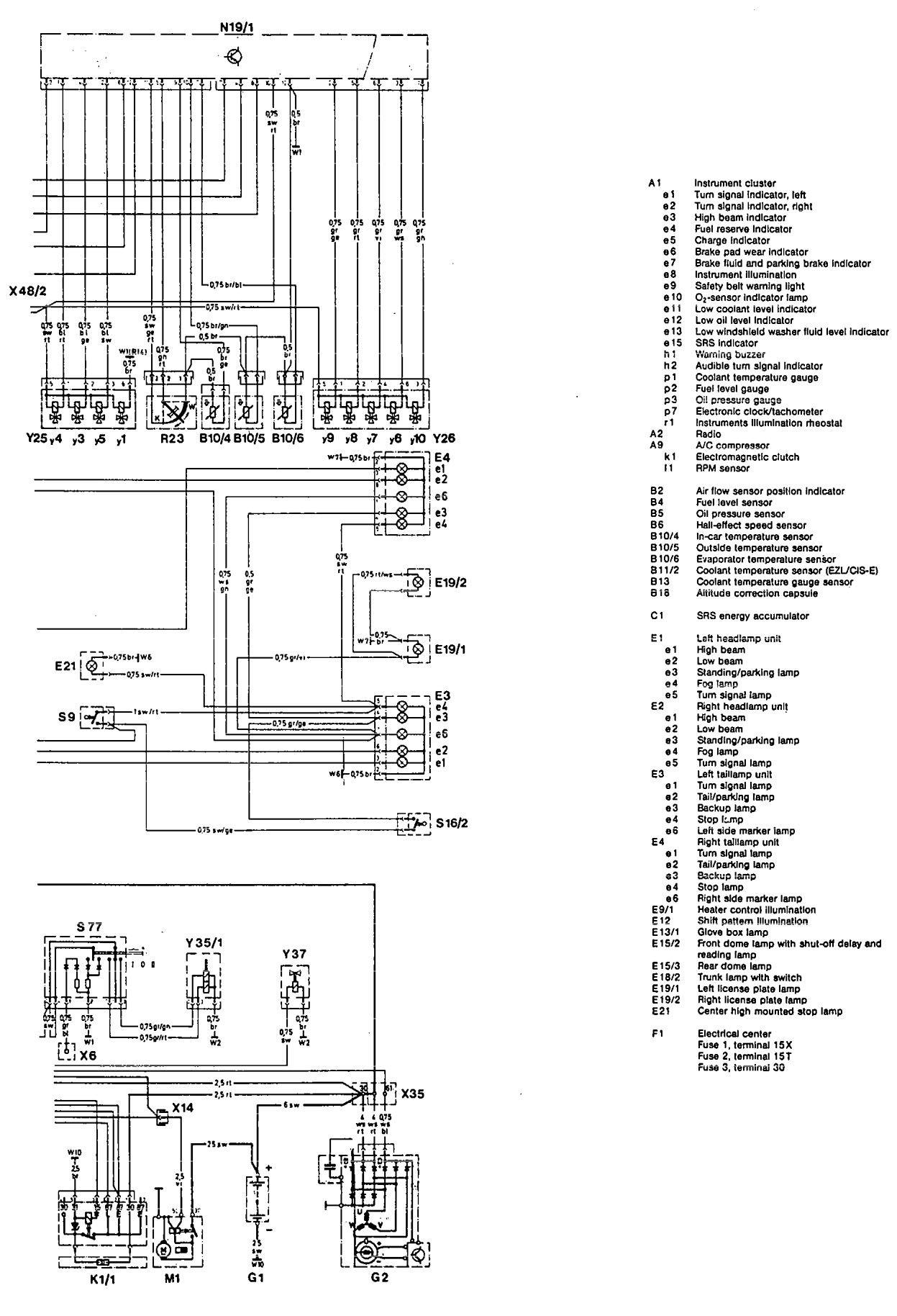 Mercedes-Benz 190E (1992) – wiring diagrams – interior lighting