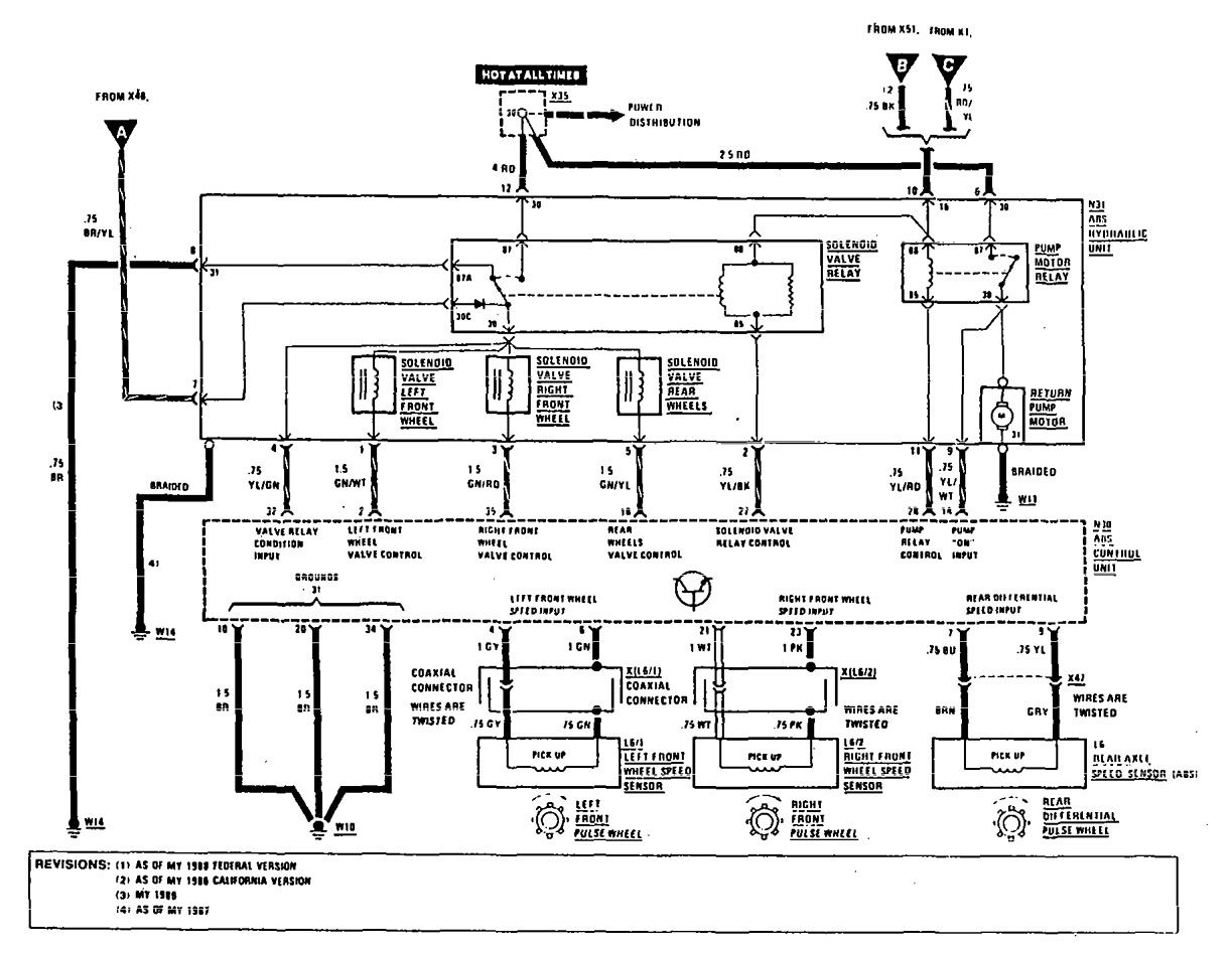 Mercedes Benz 300e 1990 1991 Wiring Diagrams Brake