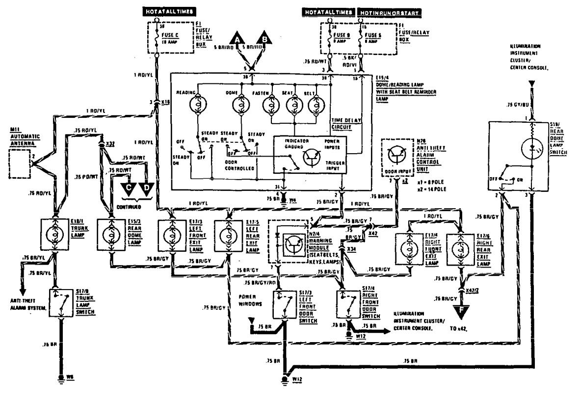Mercedes Benz 450sl Wiring Diagram Library Radio 300e 1990 1991 Diagrams Courtesy Lamps Carknowledge 1993