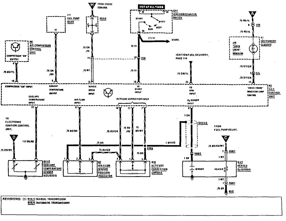 mercedes-benz 300ce  1990 - 1991  - wiring diagrams - fuel controls