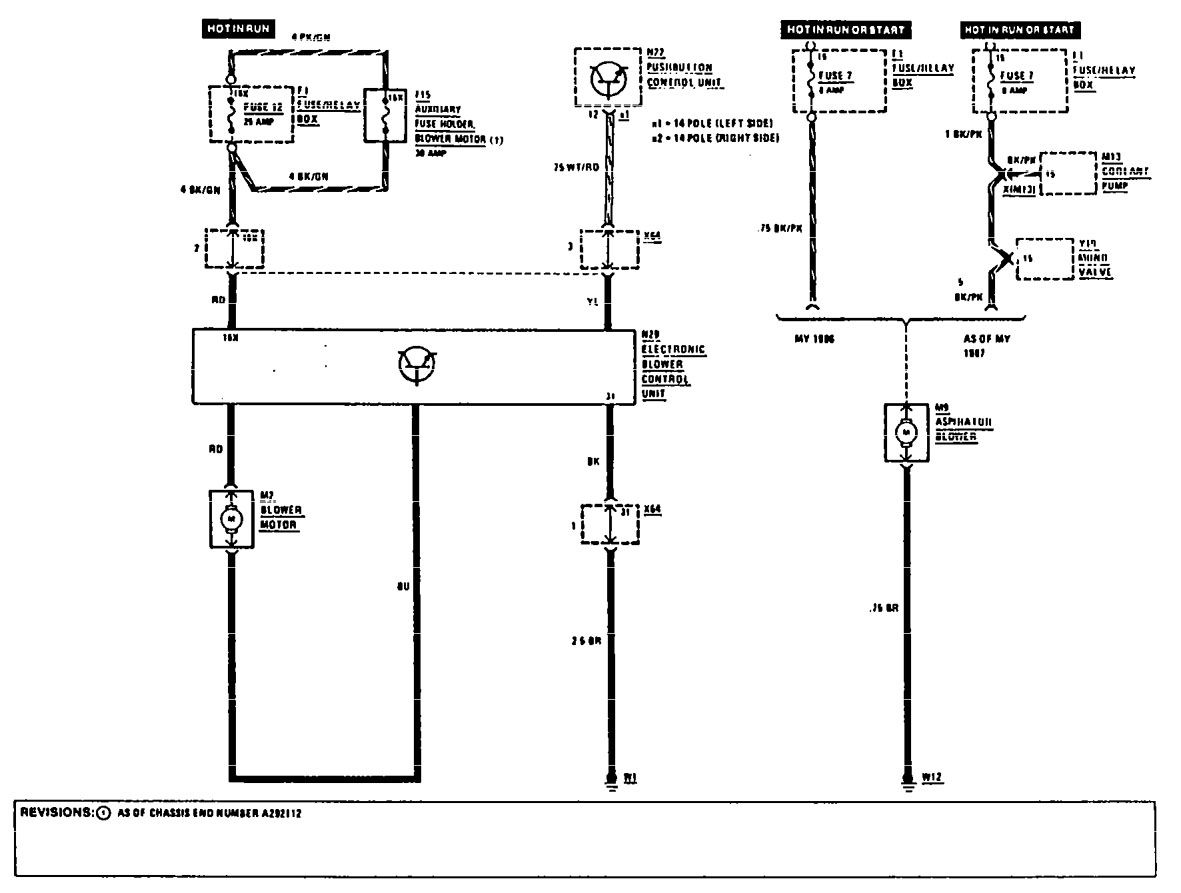 mercedes-benz 300e  1990 - 1991  - wiring diagrams - hvac controls