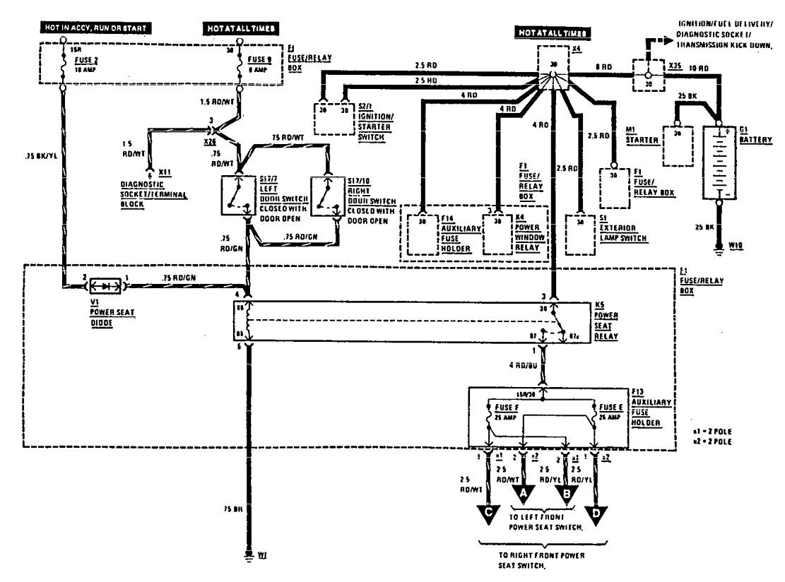 Mercedes-Benz 300E (1990) - wiring diagrams - power seat - CARKNOWLEDGE