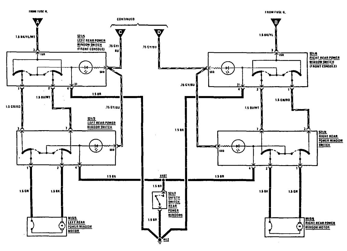 Mercedes Benz 300e 1990 1991 Wiring Diagrams Power
