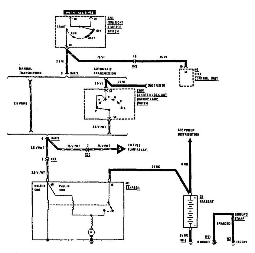 mercedes-benz 300te  1990 - 1991  - wiring diagrams - starting