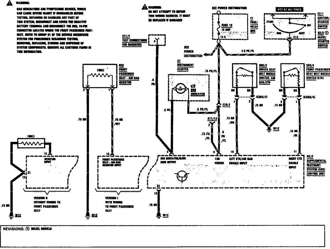 Mercedes Benz 300sel 1991 Wiring Diagrams Air Bags