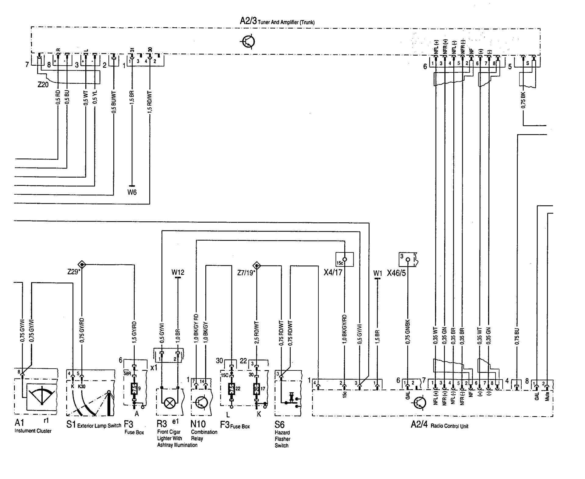 Mercedes Benz 600SL 1993 wiring diagrams audio