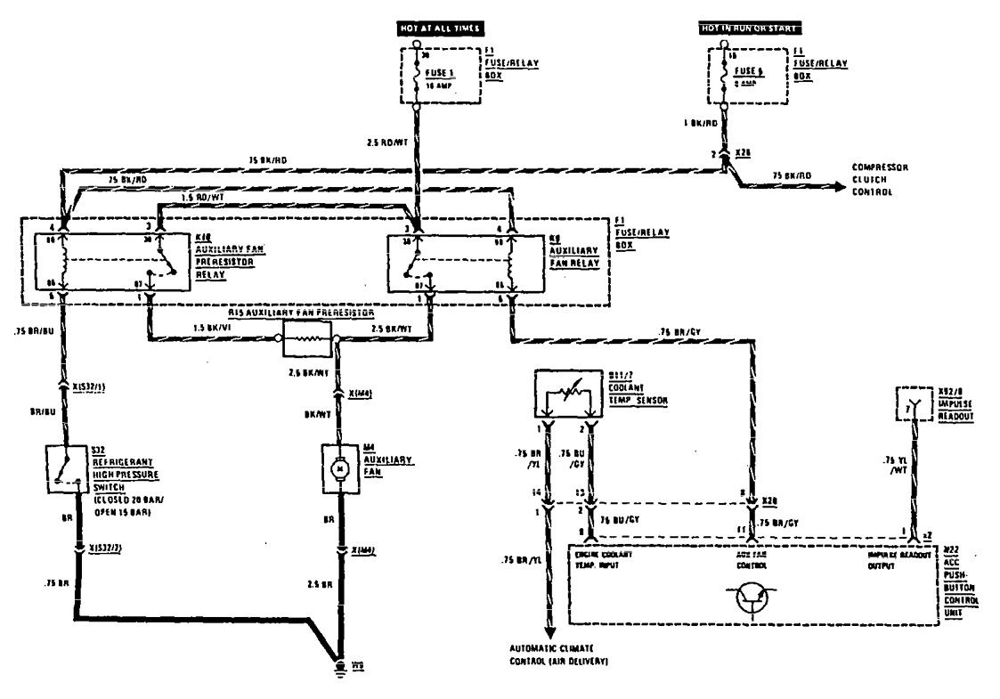 Mercedes-Benz 300SEL (1990 - 1991) - wiring diagrams - cooling fans -  Carknowledge.infoCarknowledge.info