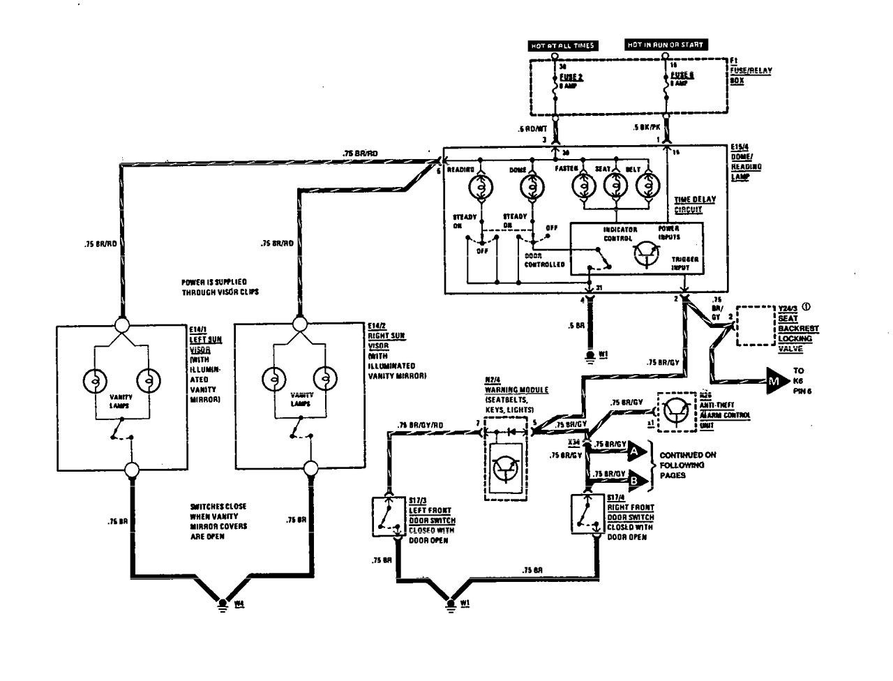 Mercedes Benz 560sel 1991 Wiring Diagrams Courtesy Lamps Fuse Box Diagram 300se Part 1