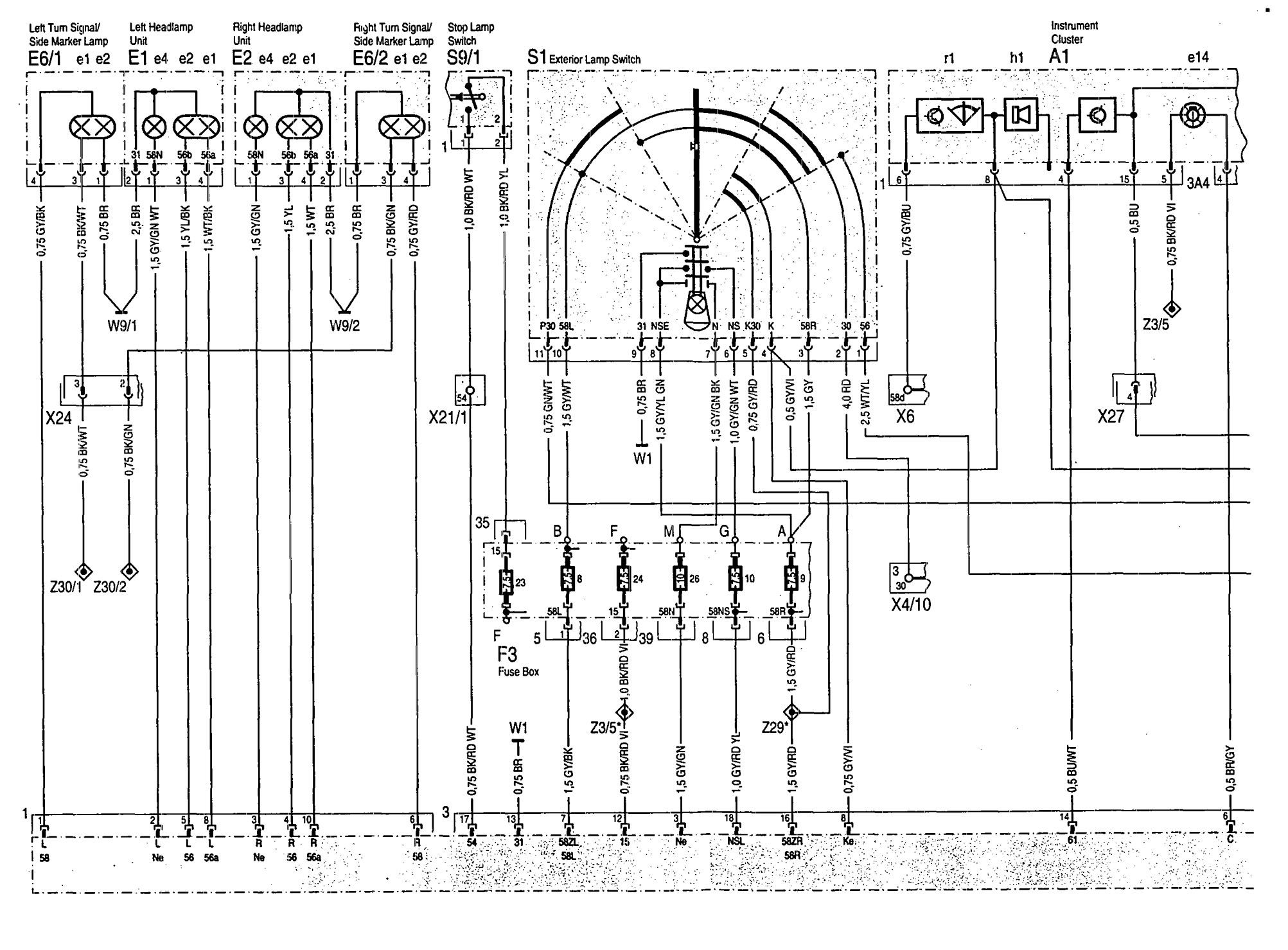 Mercedes Benz 500sel 1992 1993 Wiring Diagrams Exterior Schematics Lighting