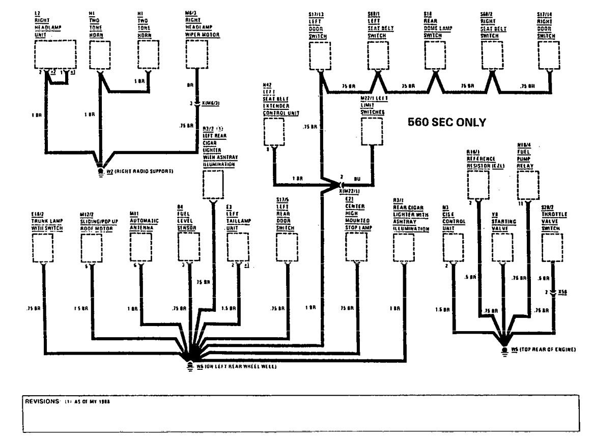mercedes-benz 420sel  1990  - wiring diagrams - ground distribution
