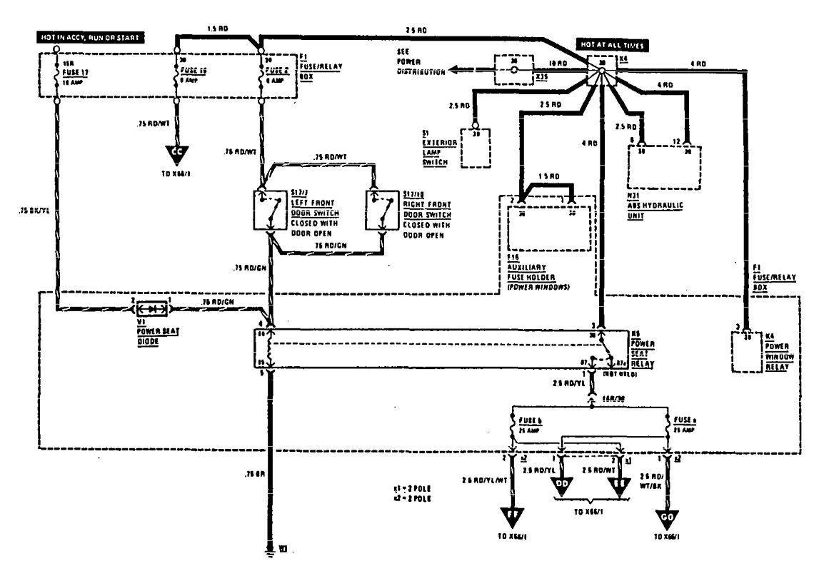 Mercedes Benz 560sel 1990 1991 Wiring Diagrams Power Seat Fuse Box Diagram