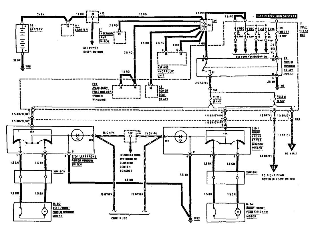 Mercedes Benz 300te 1990 1991 Wiring Diagrams Power Windows 91 Ford Thunderbird Diagram