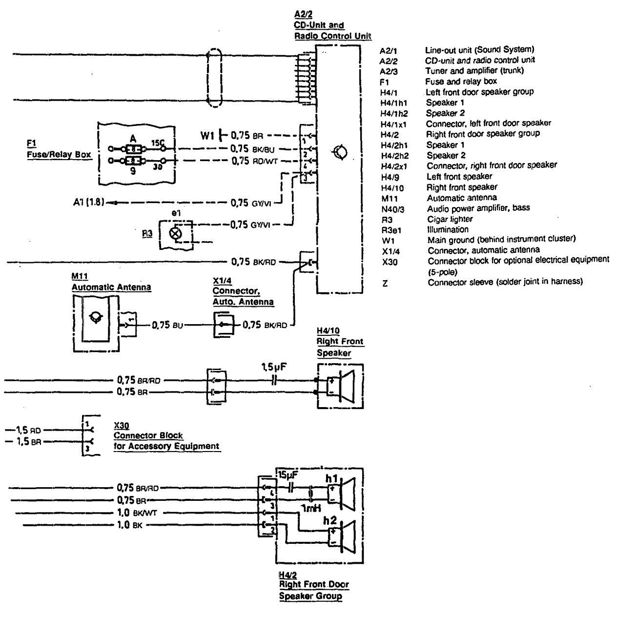 mercedes benz 300sl  1990 1993  wiring diagrams 1974 Mercedes-Benz Wiring Diagrams mercedes benz 300sl wiring diagram audio v2 2 1990