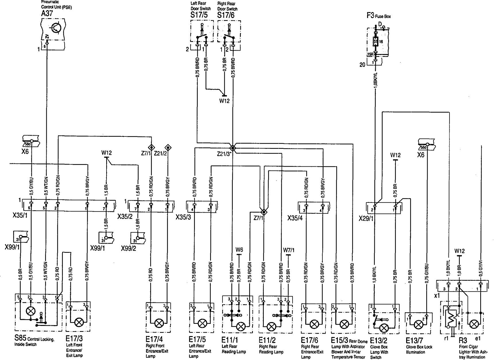 mercedes-benz 300sd (1992 - 1993) - wiring diagrams - interior lighting -  carknowledge.info  carknowledge.info