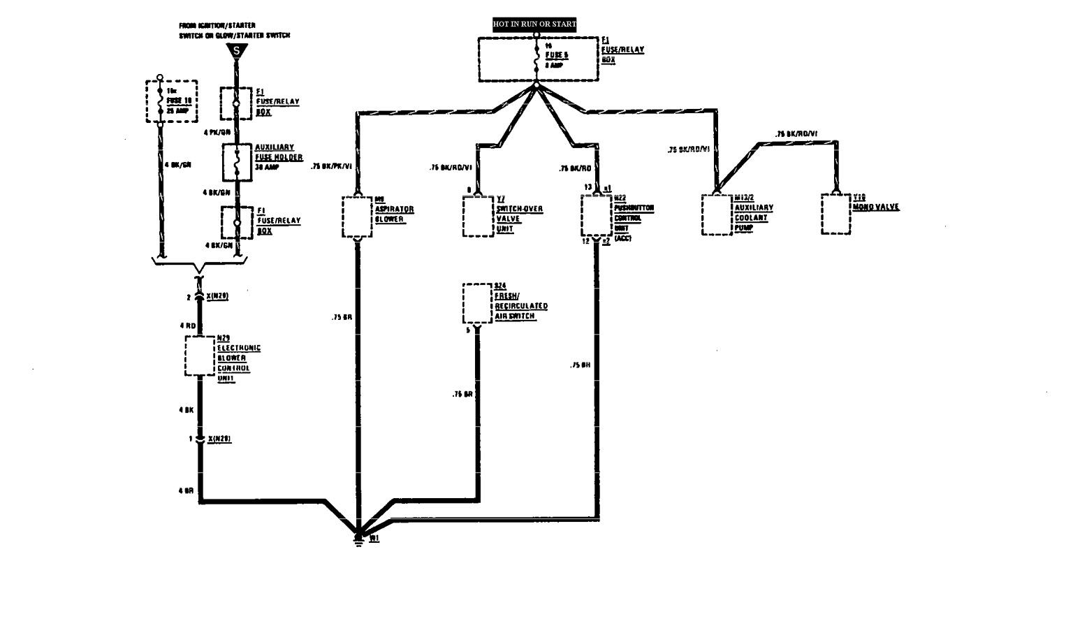 mercedes benz 300e starter diagram