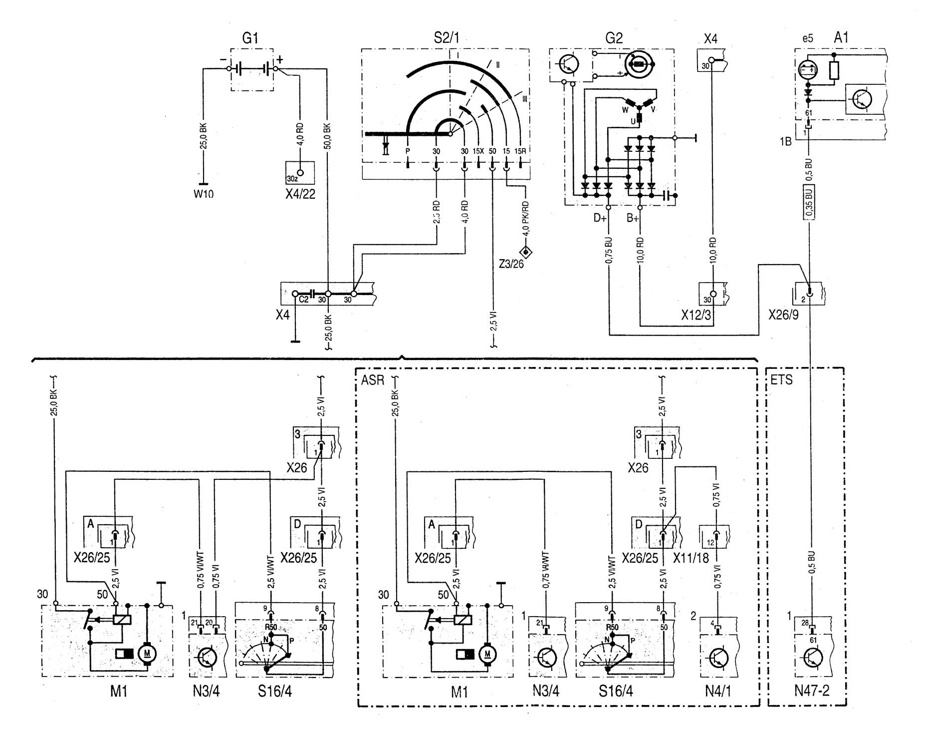 Mercedes-benz C220  1994 - 1996  - Wiring Diagrams - Starting