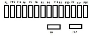 Citroen C3 Picassa - fuse box diagram - under dashboard