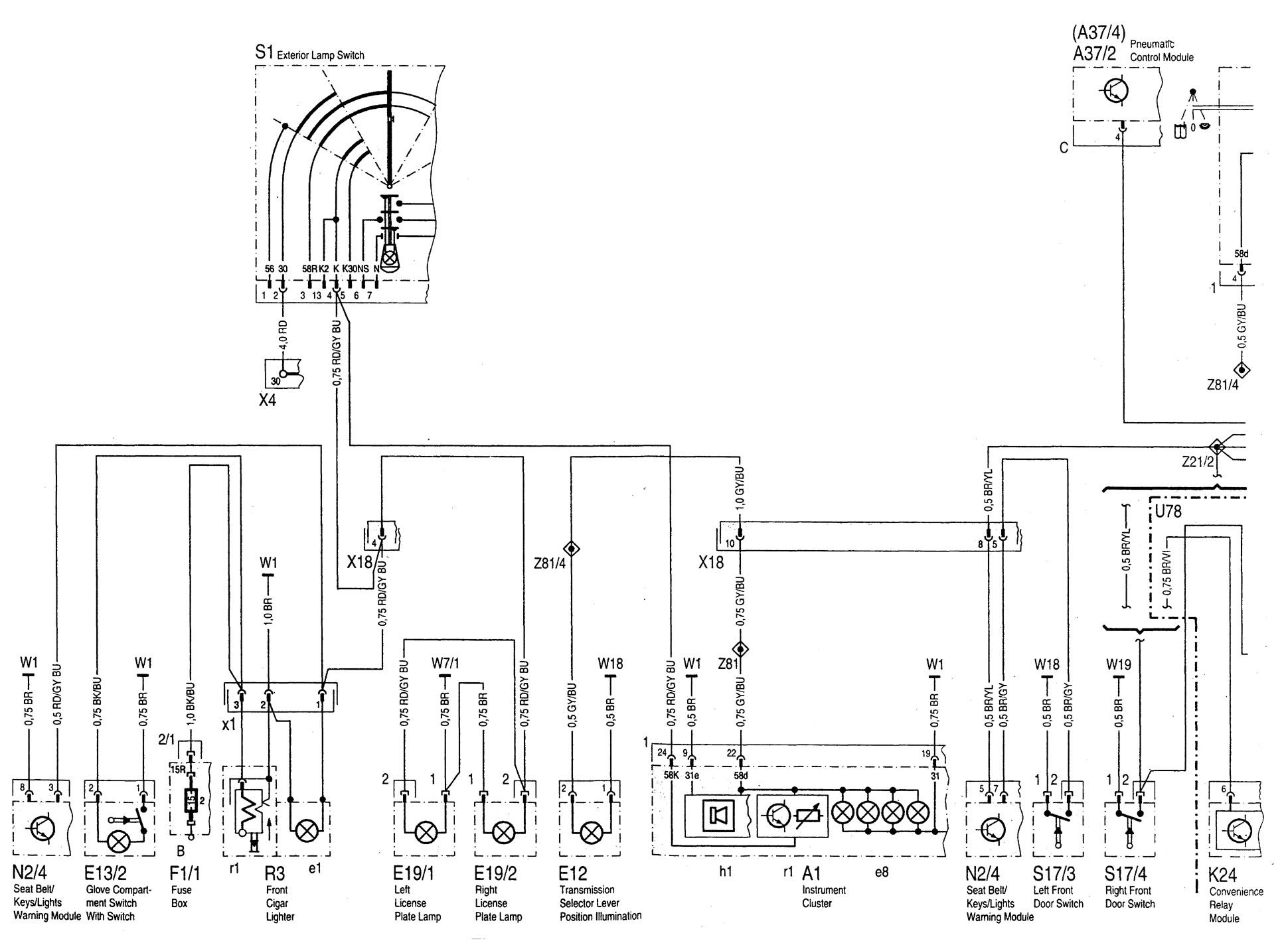 Mercedes Benz C280 1994 1997 Wiring Diagrams Exterior Outside Fuse Box Diagram Jeep Wrangler C220 Lighting Part 1