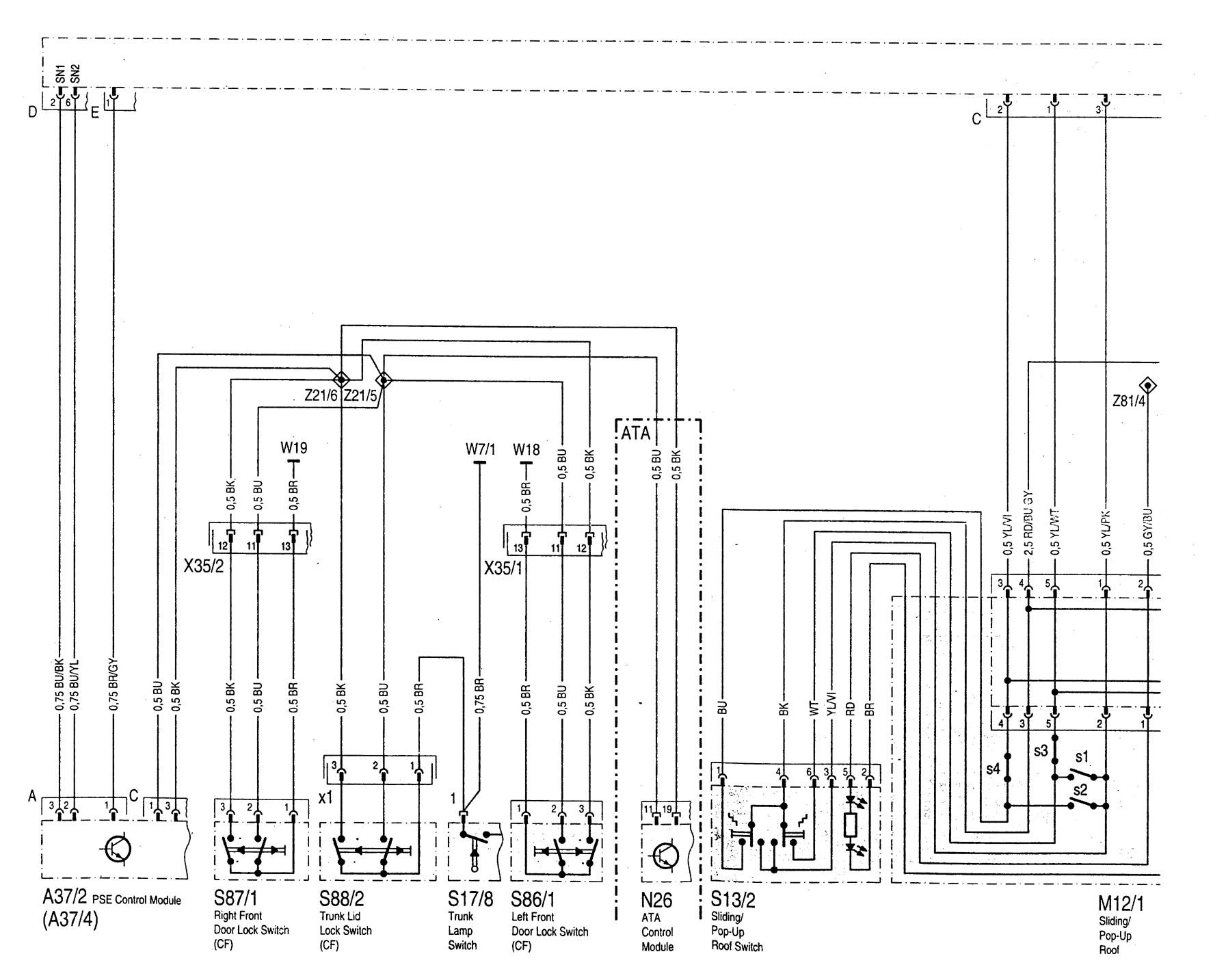 Mercedes Benz C280 1997 wiring diagrams power