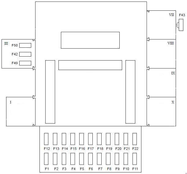 ford fiesta – fuse box diagram – passenger compartment (type 1) lhd