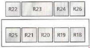 Ford Galaxy – fuse box diagram – addittional relay box
