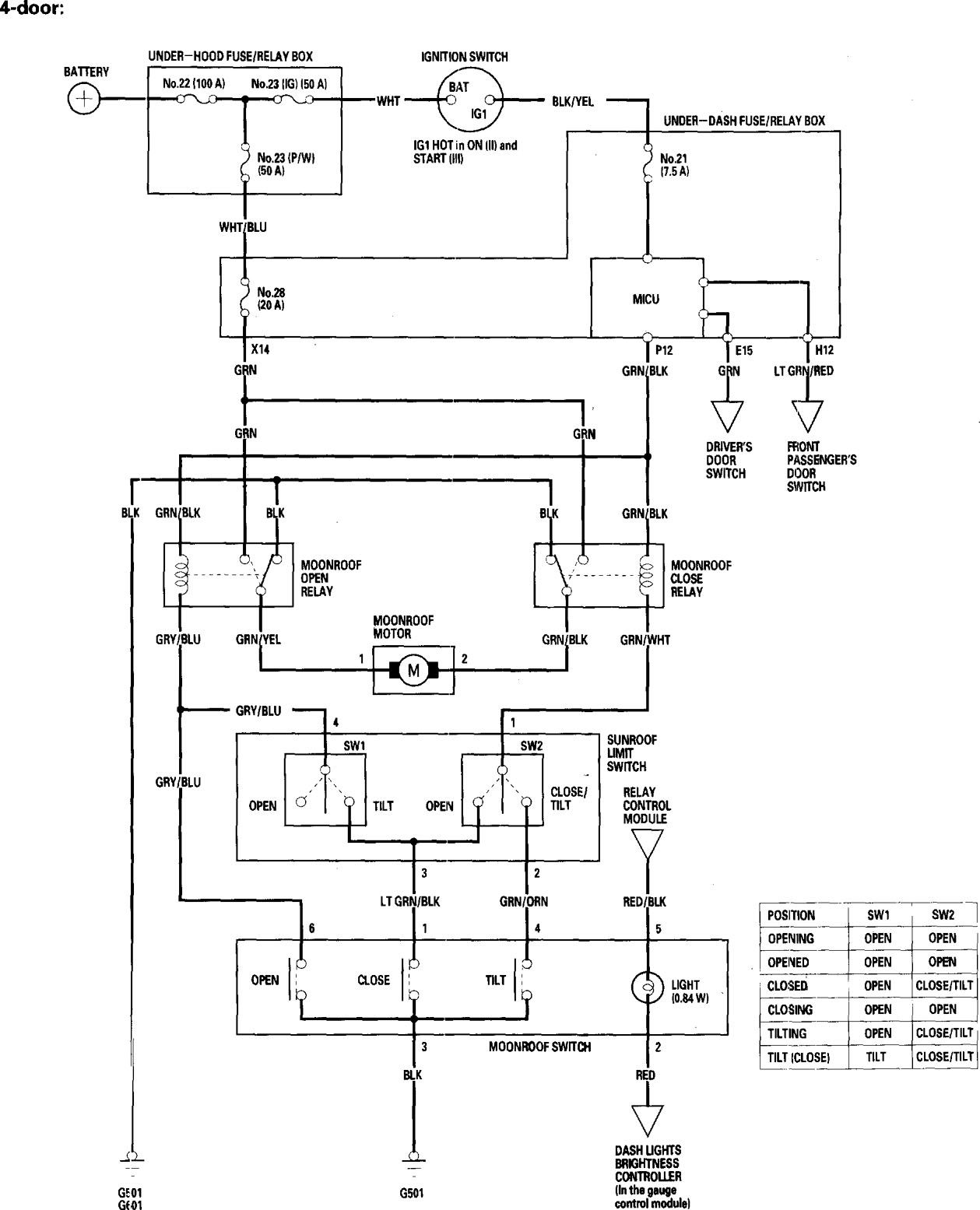 Honda Accord  2006  - Wiring Diagrams - Sunroof