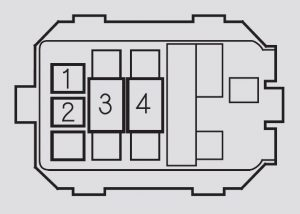 Honda S2000 – fuse box – engine compartment (auxiliary box)