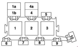 Audi A6 – fuse box diagram – 3-point relay carrier in electronics box, plenum chamber