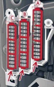 Audi A6 – fuse box diagram – driver side cockpit fuse assignment
