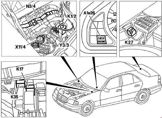 mercedes-benz c-class w202  1993 - 2001  - fuse box diagram