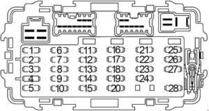 Nissan Xterra - fuse box diagram - passenger compartment fuse box