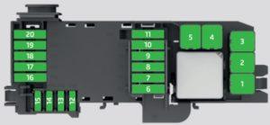 Skoda Rapid Spaceback – fuse box – engine compartment