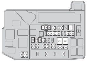 Toyota Auris Hybrid mk1 - fuse box - instrument panel