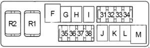 Infiniti EX35 - fuse box diagram - engine compartment box 2