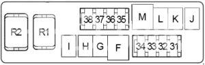 Infiniti FX35 - fuse box diagram - engine compartment fuse box no. 2