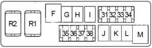 Infiniti G35 - fuse box diagram - engine compartment fuse box no. 2 (type 1)
